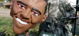 Halloween Display Shows President Obama's Decapitated Head on a spike spear Richard Piersol KBOI-TV Idaho man resident local news story Boise Grim Reaper racist rasism race homeowner ATV