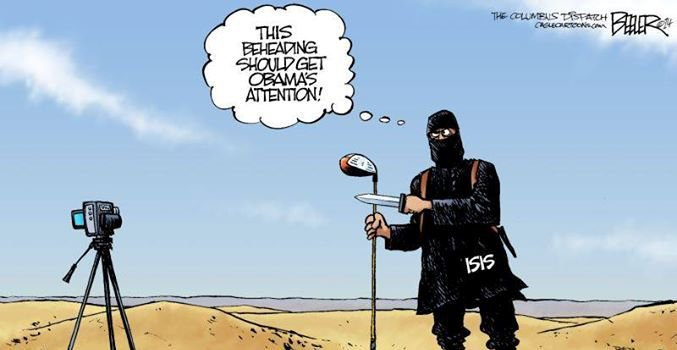hilarious Obama golf pic pics picture pictures image images President funny political humor humorous satire satirical hysterical awesome lol lolz meme memes golfing golf course hole holes club golf clubs swing 200 rounds 200th round Political Cartoon Nate Beeler ISIS Terrorist Militant This Beheading Should Get Obama's Attention golf club camera video desert