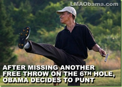hilarious Obama golf pic meme memes pics picture pictures image images President funny political humor humorous satire satirical hysterical awesome lol lolz golfing golf course hole holes club golf clubs swing 200 rounds 200th round After Missing Another Free Throw on the 6th Hole, Obama Decides to Punt