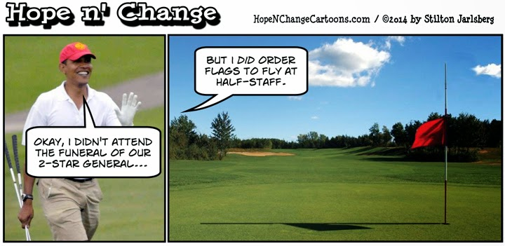 hilarious Obama golf pic pics picture pictures image images President funny political humor humorous satire satirical hysterical awesome lol lolz meme memes golfing golf course hole holes club golf clubs swing 200 rounds 200th round Hope n' Change Cartoon Stilton Jarlsberg hopenchangecartoons.com Obama Okay, I Didn't Attend the Funeral of our 2-Star General, But I Did Order Flags to Fly at Half-Staff