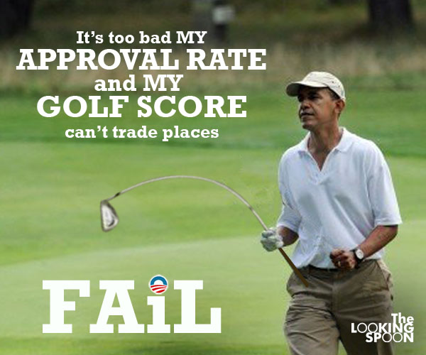 hilarious Obama golf pic meme memes pics picture pictures image images President funny political humor humorous satire satirical hysterical awesome lol lolz Photoshop golfing golf course hole holes club golf clubs swing 200 rounds 200th round Obama Meme: It's Too Bad My Approval Rate and My Golf Score Can't Trade Places