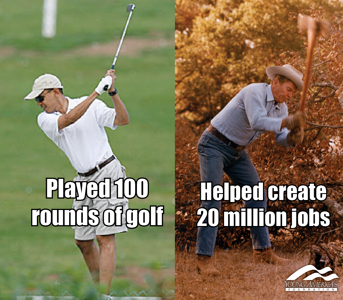 hilarious Obama golf pic pics picture pictures image images President funny political humor humorous satire satirical hysterical awesome lol lolz meme memes golfing golf course hole holes club golf clubs swing 200 rounds 200th round Obama Meme Obama Played 100 Rounds of Golf, Reagan Helped Create 20 Million Jobs
