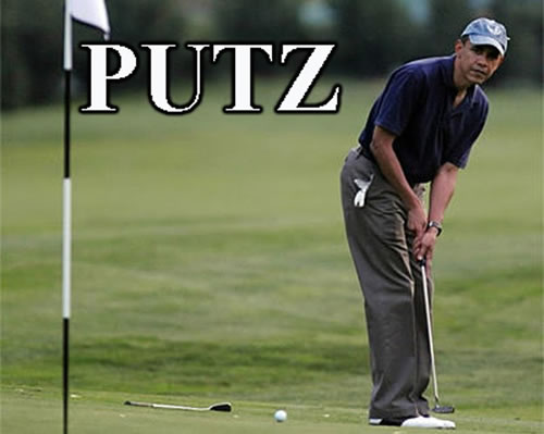 hilarious Obama golf pic pics picture pictures image images President funny political humor humorous satire satirical hysterical awesome lol lolz meme memes golfing golf course hole holes club golf clubs swing 200 rounds 200th round Obama Golf Meme Putz
