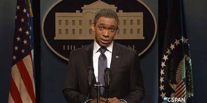 SNL Blasts President Obama and Ebola Czar in Opening Sketch Saturday Night Live October 25, 2014 NBC Comedy Host Jim Carrey