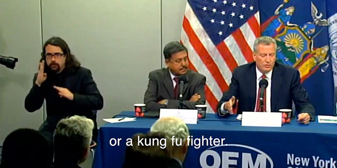 Sign Language Interpreter Ebola Press Conference New York City Mayor Bill de Blasio Signer Mannerisms Gestures Funny Humorous Quirky Jerky Hilarious Video Parody What He Was REALLY Saying Socialist Mop SocialistMop