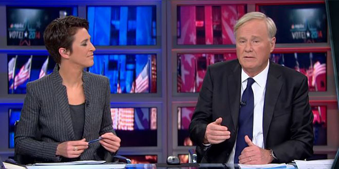MSNBC 2014 midterm election night coverage hosts Chris Matthews Rachel Maddow Tom Brokaw phone ringing rang interrupted middle of live broadcast meltdown anger angry sad visibly upset emotional pissed off in denial Republican victory GOP landslide Republicans won Senate majority House Congress Democrats lost loss embarrassing embarrassment