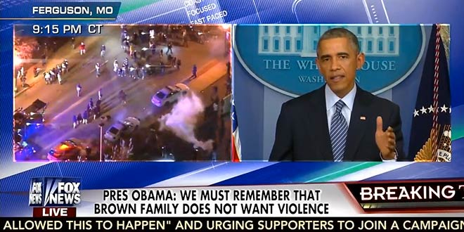 President Obama split-screen moment Ferguson Missouri speech statement remarks cable news channels outlets TV television stations grand jury decision not to indict Officer Darren Wilson shooting death killing Michael Brown rioters looters crime riots African-Americans community rage racial tension race war reinforces his weakness ineffectiveness