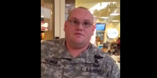 Stolen Valor Fake Army Ranger Sean Yetman Called Out by Real Army Vet veteran Ryan Berk Black Friday 2014 Oxford Valley Mall Langhorne Pennsylvania uniform Staff Sergeant badges military service armed forces Philadelphia area Guardian of Valor