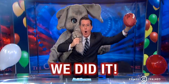 The Colbert Report The Republicans Win Everything Stephen Colbert GOP victory 2014 midterm elections Comedy Central show funny clip video segment piece spiking the football won Senate majority House Congress We Did It dancing elephant mascot balloon drop