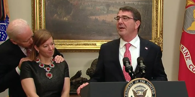 Creepy Joe Biden Vice President Secretary of Defense Ashton Carter wife's ear whispers sweet nothings too close touched felt stroked hold held hair swearing in sworn in