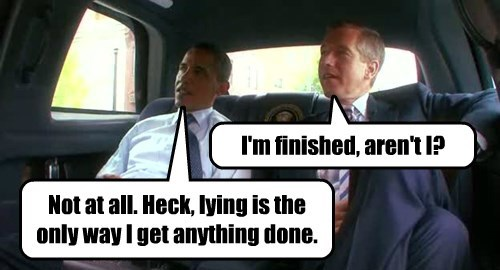 President Obama Brian Williams limo limousine riding together car back backseat Presidential motorcade gives some sage advice lie lies lied lying liar Iraq 2003 helicopter dishonest truth trust NBC Nightly News veteran anchor funny hilarious Twitter tweet caption cartoon bubble I'm finished aren't I not at all heck lying is the only way I get anything done socialistmop socialist mop