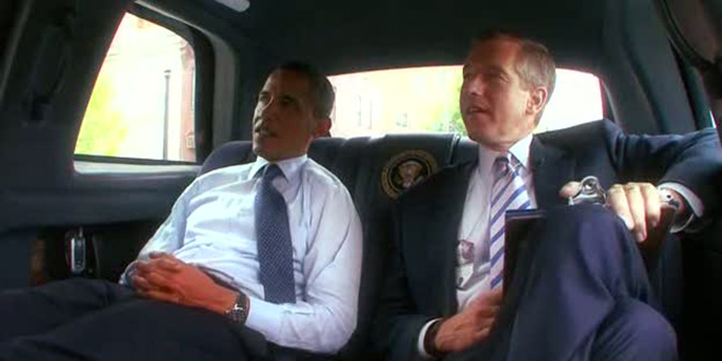 President Obama Brian Williams limo limousine riding together car backseat Presidential motorcade gives some sage advice lie lies lied lying liar Iraq helicopter dishonest truth trust NBC Nightly News veteran anchor